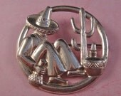 Vintage Mexican Sterling Man and Cactus Brooch