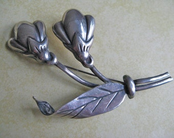 Vintage Coro Made in Mexico Silver Two Flowers Pin