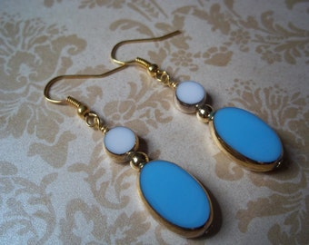 Blue and White German Vintage Earrings - Antique German Earrings 1950's - 24K Gold Earrings