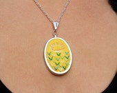 SHOP CLOSING 8/31 // Ornamental lawn - Embroidered Pendant Necklace - Silver Toned - Yellow pattern with green mint clover chevrons