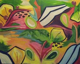 Large Bright Colorful Orginal Acrylic Painting