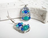 Hand-wired SODA TAB EARRINGS - Mexican Riviera - blue and turquoise - beaded- upcycled/recycled - under 15.00