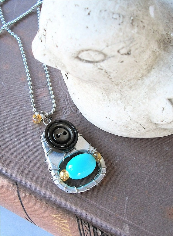 Hand-wired Pull Tab Pendant Necklace - Birds Egg - turquoise/ brown - vintage bead and button -  eco-friendly/upcycled jewelry - under 15.00
