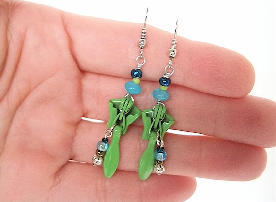 Beaded Zipper Earrings -green, turquoise, cobalt blue - for teens and adults - upcycled/recycled jewelry - under 15.00