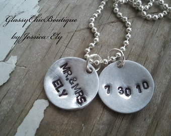 Custom Wedding Commemorative Necklace..Custom hand stamped.. Mr. and Mrs. newlywed name and wedding date..Great wedding gift.
