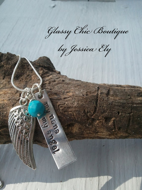 Memorial necklace..My Angel necklace..hand stamped with..my nana my angel..customize..great memorial gift for yourself or a loved one