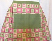 Pink and Green Geometric Apron -  Women's Cafe Apron with Pockets - Kitchen Accessory