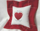 Red Heart Valentine Embroidered Pillow - Holiday Decor - Love Sentiment - Sweetheart Pillow