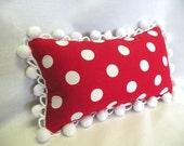 Red and White Polka Dot Lumbar Pillow