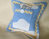 Tooth Fairy Pillow Up in the Clouds Blue Sky with Sunny Yellow Trim - Children's Kid's Room Decor, Baby or Nursery Decor, Keepsake Holder