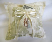 Country Toile Pillow for Ring Bearer, Tooth Fairy or Gift Card
