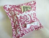 Fushia  Damask Design Tooth Fairy Pillow