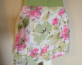 Women's Apron Vintage Appeal Cottage Chic Pink and Apple Green