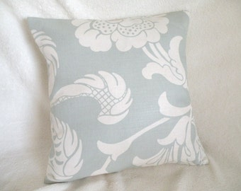 SALE - Damask Design Shabby Chic Pale Misty Blue and Creamy White Accent Pillow Cover 15 x 15