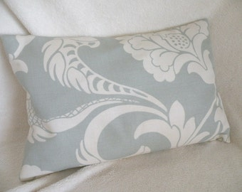 SALE - Cottage Shabby Chic Lumbar Pillow Cover 12 x 18 Pale Blue and Creamy White