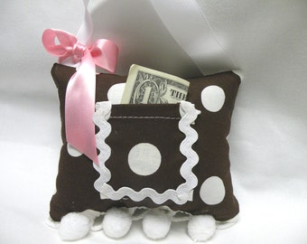 Gift for Girls-Chocolate, Pink and White Polka Dot Tooth Fairy Pillow