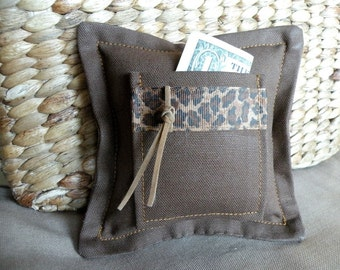Gift for Boy's Tooth Fairy Pillow or Gift Card Holder in Animal Print and Chocolate Brown