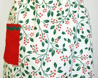 Vintage Appeal Christmas Apron Retro 50's Red and Green