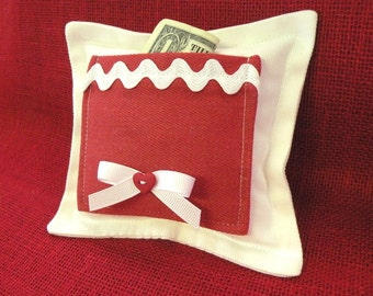Sweetheart Tooth Fairy Pillow in Red and White