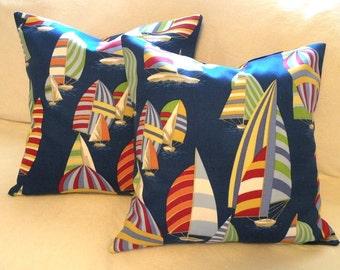 Nautical Sailboat Pillow Covers 16 x 16 Set of Two - Beach Coastal Decor