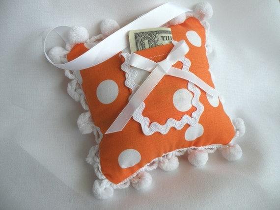 Orange and White Polka Dot Tooth Fairy Pillow Toy