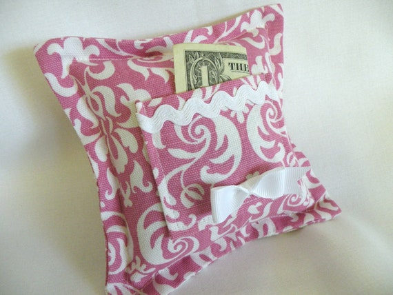 Fushia  Damask Design Tooth Fairy Pillow