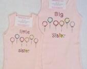 Rhinestone Tiny Balloons Big OR Little Sister Tshirt or Tank Top