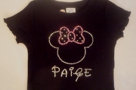 Rhinestone Minnie Mouse Personalized Tshirt