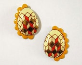 Enamel Post Earrings - Pysanky Egg Jewellery - Pine Yellow