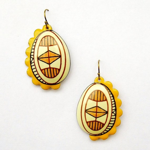 Enamel Hook Earrings Pysanky Egg Jewellery - Pine Yellow