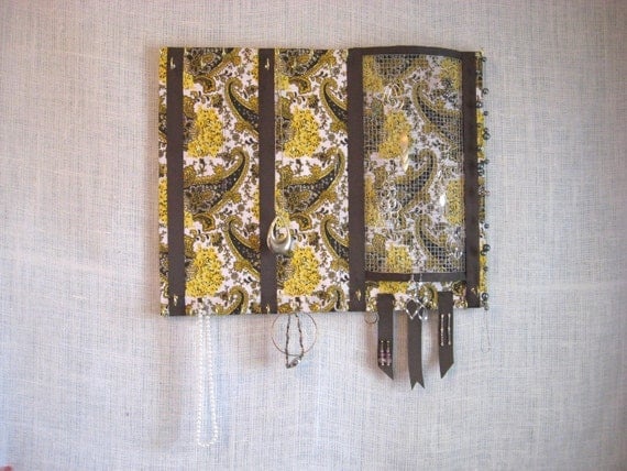 JEWELRY ORGANIZER -Large Jewelry Display- Golden Bandana-41 Large Hooks- 16x20 inches- ReAdY to ShIp- A little Bit of CoUnTrY