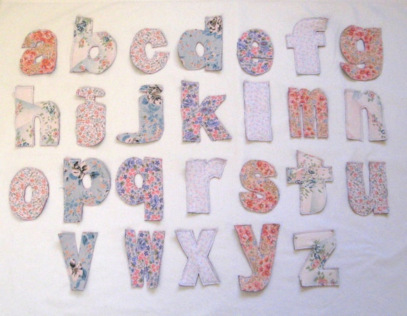ABC'S- CLOTH LETTERS - Rag Alphabet, Capital Letters and lowercase Letters available- Pink and Girly