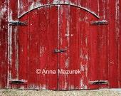 8X10 Red Barn Door Fine Art Photography Print - Americana Home Decor - Farm Decor - Travel Photography - Birthday Gift
