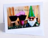Funny Birthday Card -  Funny Gnome Photo Card  - Funny Pink Flamingo Card -  Funny Mom Birthday Card -  Flamingo Birthday Card