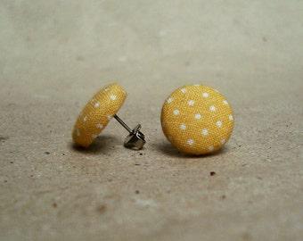 Fabric Button Post Earrings - Yellow Polka Dot - 15mm