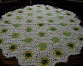 New handmade Hexigan Granny design blues/yellows colour Crochet Blanket  (nannycheryl original)  ID 635
