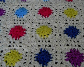 Handmade crochet blanket -  Chunky yarn cream and mulit colour centre sections and edge  (nannycheryl original) 696 ( 583)  (B)