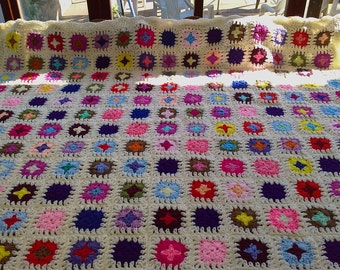 Handmade chunky crochet blanket -  Made in tradition granny type multi colour style with cream border (nannycheryl original) ID  783   (D)