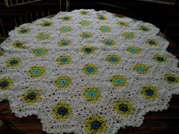 New handmade Hexigan Granny design blues/yellows colour Crochet Blanket  (nannycheryl original)  ID 635   (D)