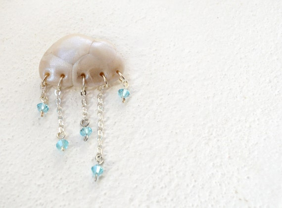 Cloud brooch - white pearl polymer clay and light blue crystals, one of a kind OOAK