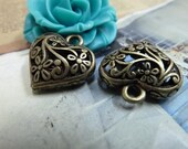 5pcs 9x20x20mm Antique Bronze  Lovely Filigree 3D Flower Heart Charms Pendant  C1979