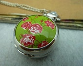 1pcs 28X38mm White K Locket Necklace Pendant / Pocket Watch PW 6-135