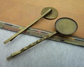 100pcs 18x62mm Antique Bronze Brass Simple Base setting Bobby Hair Pin c2284
