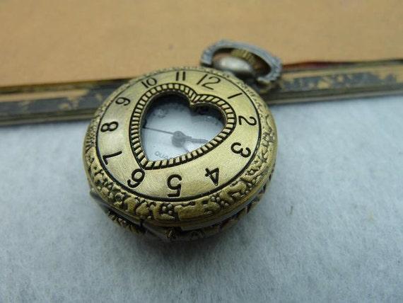 1pcs 26X36mm Antique Bronze Locket Necklace Pendant / Pocket Watch c5053