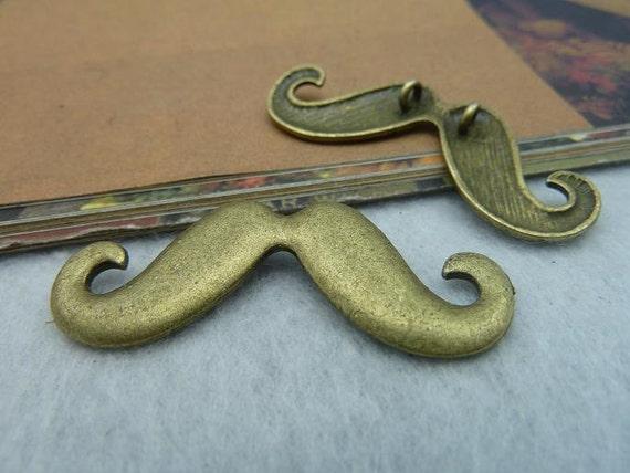 5pcs 18x44mm Antique Bronze  Lovely Mustache Charm Pendant Connector Link  c2183