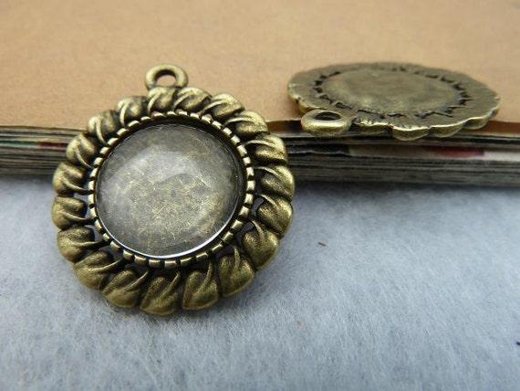 10pcs 30mm-12mm Antique Bronze Round Filigree Flower Cameo Cabochon Base Settings  D24