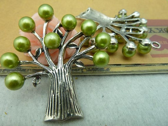 2pcs 50x60mm Antique Silver  Lovely Filigree Heavy Tree With Glass Pearl Charm Pendant c3277