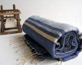 TurKish BaTh ToWel -Beach Towel  The Ephesus PesHteMal  - Denim- Ivory Stripes