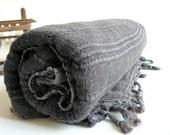 Handwoven Turkish BaTh ToWel - Vintage Inspired Cotton Pure Soft Peshtemal  - Dark Grey