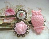 LAST SET Hoot Hoot, vintage pink owl and floral children's hairpins